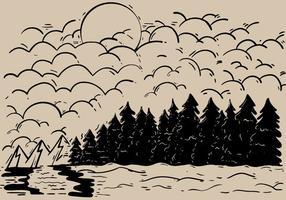Esboçado do vetor da paisagem da floresta ao ar livre
