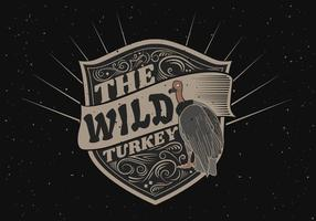 Wild turkey silhouette logo label illustration