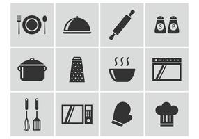 Libre de cocina de vectores iconos