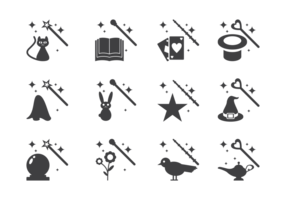 Magic Stick und Elemente Icons Vector