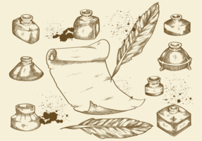 Free Hand Drawn Inkwells Vectors