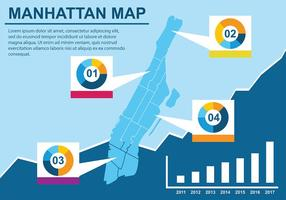Infographic Manhattan Karta Vector