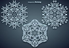 Vector Conjunto de magníficas grandes copos de nieve azules