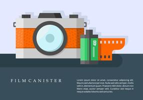 Camera and Film Canister Background vector