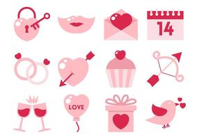 Free Vector Flat Valentine Element