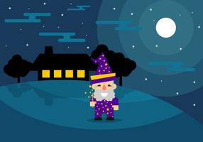 Fun Wizard at Night Vector