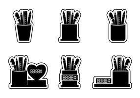 Set of Pen Holder Sticker Silhouette Vectors