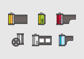 Film Canister Ícone Vector Set