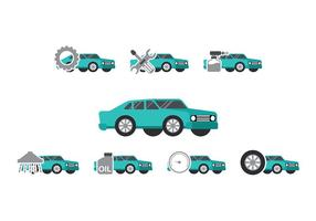 Teal Car Auto Body Icon Vectors