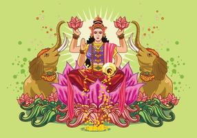 Vector Illustration of Goddess Lakshmi