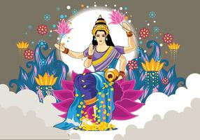 Déesse Lakshmi Cool Colors Vecteur