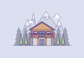 Wooden House In Front Of A Mountain vector