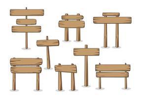 Madeira señales de madera vectores de mesa