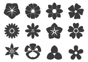 Black Cutout Symbols Of Flowers vector
