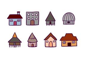 House and Cabana Icons vector