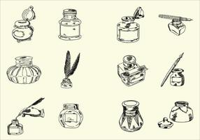 Incompletos dibujados a mano vectores tintero