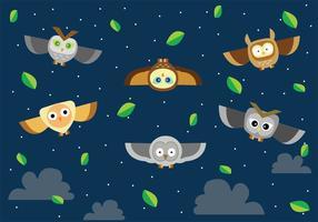 Flying Buho at Night Vector