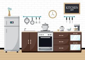 Modern Subway Tile Cocina Illustration