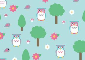 Natürliches Muster mit Bäumen und Buhos Vektoren