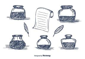 Hand Drawn Inkwell-Vektor-Icons