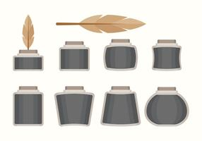 Flat Inkwell Set vector