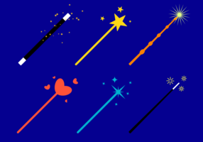 Flat Magic Stick Vector