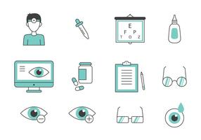 Teal Thin Line Eye Doctor Icons vector