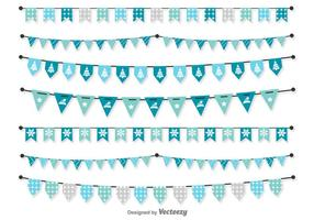 Vector Blue Christmas Pennants