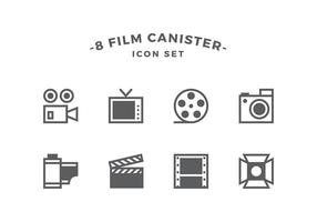Bus Line Film Icon Set Vector