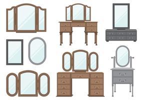 Wooden Dressing Tables Set vector