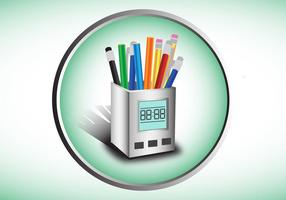 Colorful Pen Holder Vector