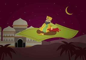 Free Sultan Riding Magic Carpet Illustration