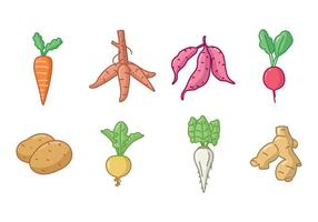 Handdrawn racines et tubercules Icon Set