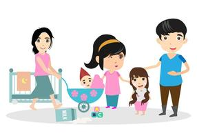 Free Happy Family With Babysitter Illustration