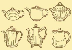 Skissartade Teapot Ikoner vektor