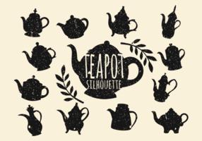 Vintage Teapot silhouette vecteur