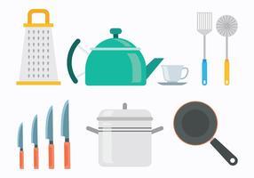 60s stil Cocina ikoner vektorer