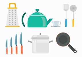 60s style Cocina icônes Vecteurs