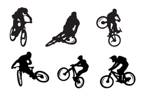 Silhuetas de bicicleta Vector