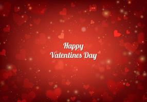 Free Vector Red San Valentin Karte mit Herzen und Lichter