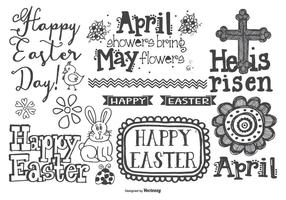 Cute Hand Drawn Style Easter Doodles