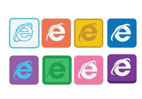 Platte Internet Explorer-pictogram set