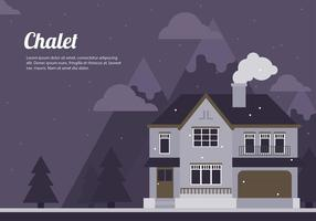 Chalet Nuit Cartoon Flat Vector