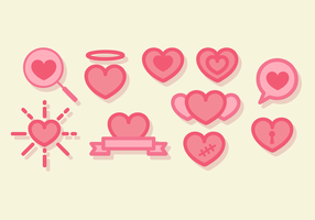 Leuke Line Art Hearts Vector