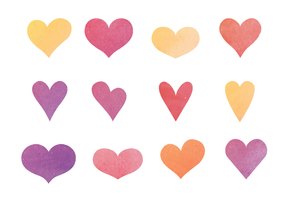 Cute Watercolor Hearts Vector