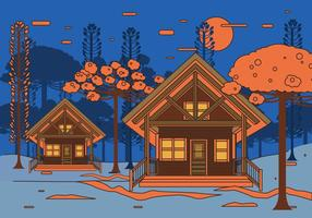 Chalet Night View Vector