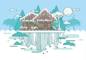 Snowy Chalet Landscape Vector