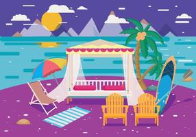 Cabana Night View Vector