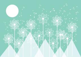 Mint Blowball Vector Background