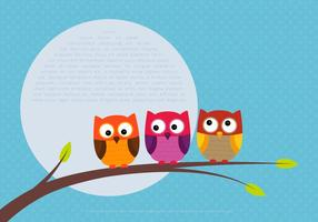 Cute Colorful Owl Vectors on a Branch